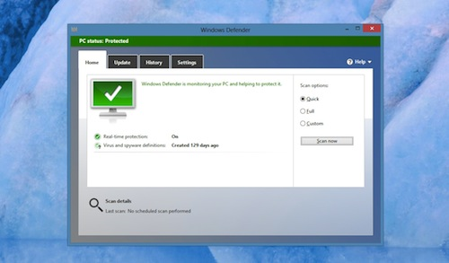 Built-in Antivirus with Windows Defender