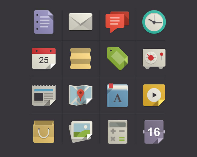 Flat Design Icons Set Vol1 download
