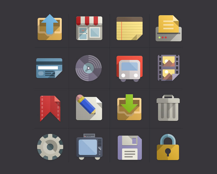 Flat Design new Icons Set Vol3