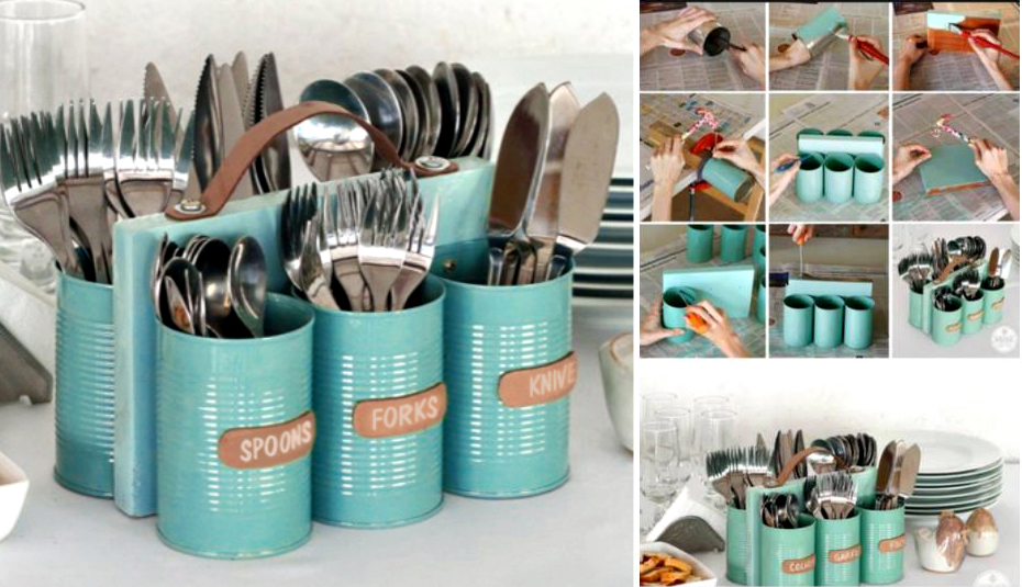 1old tin cans utensil holder