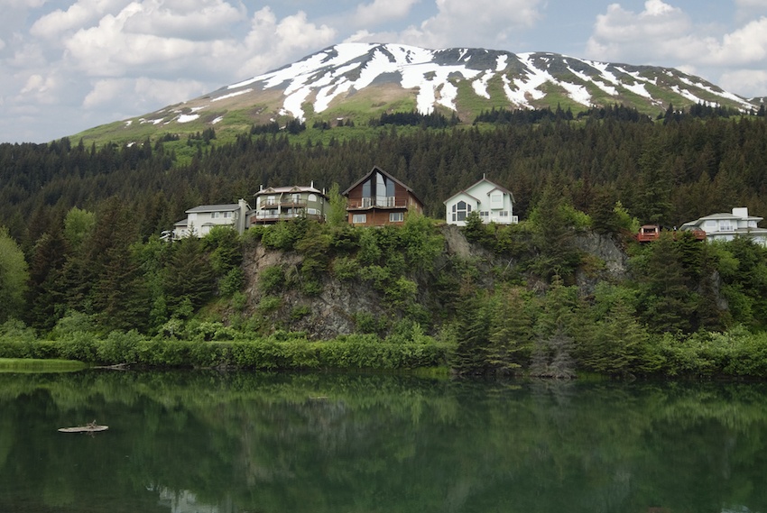 Cliffside lodges / wooden houses on Cliff View Place Looking Over The Lagoon Seward Kenai Peninsula Borough Alaska USA